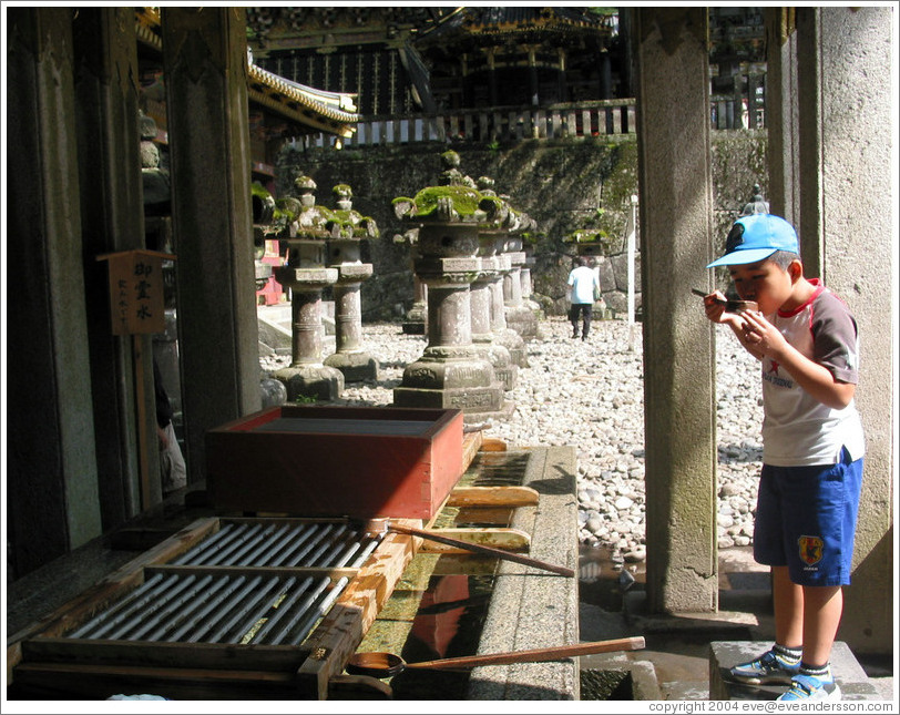 Purification.  Tosho-gu Shrine.