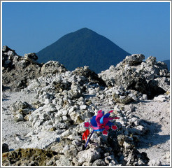 Volcanic landscape with pinwheels for deceased children.  Mt. Osorezan.