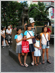Hachiko with friends.  Shibuya neighborhood.