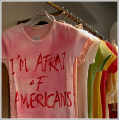 I'm afrait of Americans t-shirts.  Shibuya neighborhood.