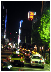 Taxis at night.  Shimbashi neighborhood.