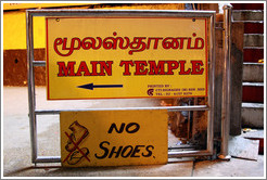 Signs reading Main Temple and No Shoes.  Batu Caves.