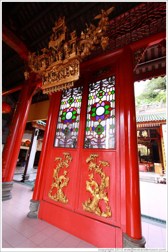 Door with stained glass windows, Chan She Shu Yuen Clan Association building.