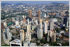 View of Kuala Lumpur from the KL Tower.  The two pronged building in the center is Times Square.
