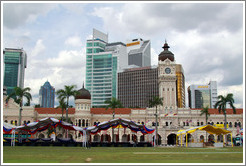Sultan Abdul Samad Building with skyscrapers behind it, Merdeka Square.