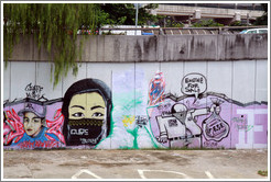 Graffiti at the bank of the Sungai Kelang depicting a veiled woman and a man selling an F-5E engine, presumably one of those from an airbase of the Royal Malaysian Air Force in Dec 2007/Jan 2008.