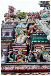 Green woman and other figures, Arulmigu Mahamariamman Temple.