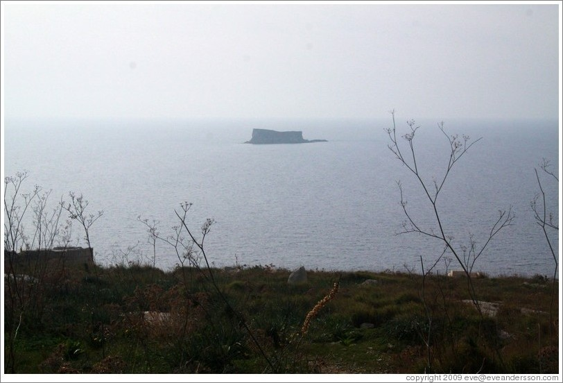 Filfla, the southernmost islet in the Maltese archipelago.  Viewed from Ħaġar Qim.