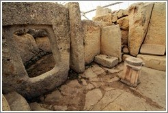 Altar and slab at Ħaġar Qim, a 14th century BC megalithic temple complex.
