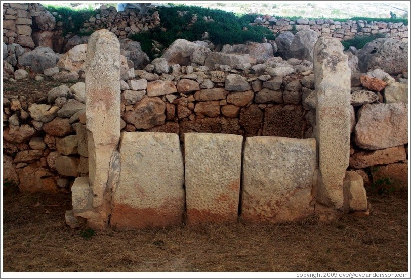 East temple at Mnajdra, a megalithic temple complex.