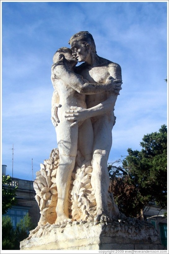 A 1983 sculpture of a couple by Anton Agius, Maltese sculptor.