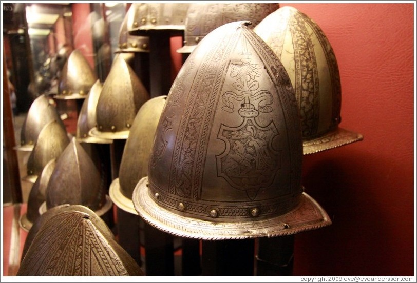 Peaked Morions, a type of military helmet, Palace of the Grand Master.