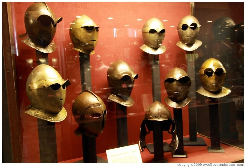 Savoyard style close helmets, c 1600-30, Palace of the Grand Master.