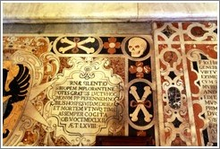Floor decoration containing a skull and crossbones, St. Johns Co-Cathedral (Kon-Katidral ta' San Ġwann).