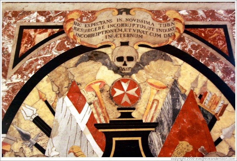Floor Decoration Containing A Skull St Johns Co Cathedral Kon Katidral Ta San Ġwann Photo