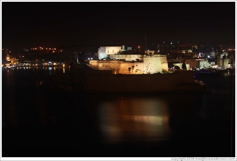 Fort St. Angelo at night, viewed from the British Hotel, Valletta.