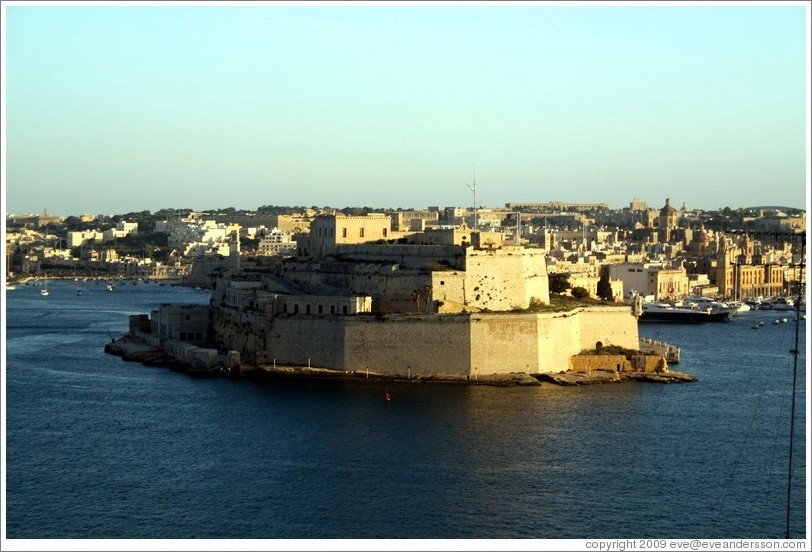 Fort St. Angelo, viewed from the British Hotel, Valletta.