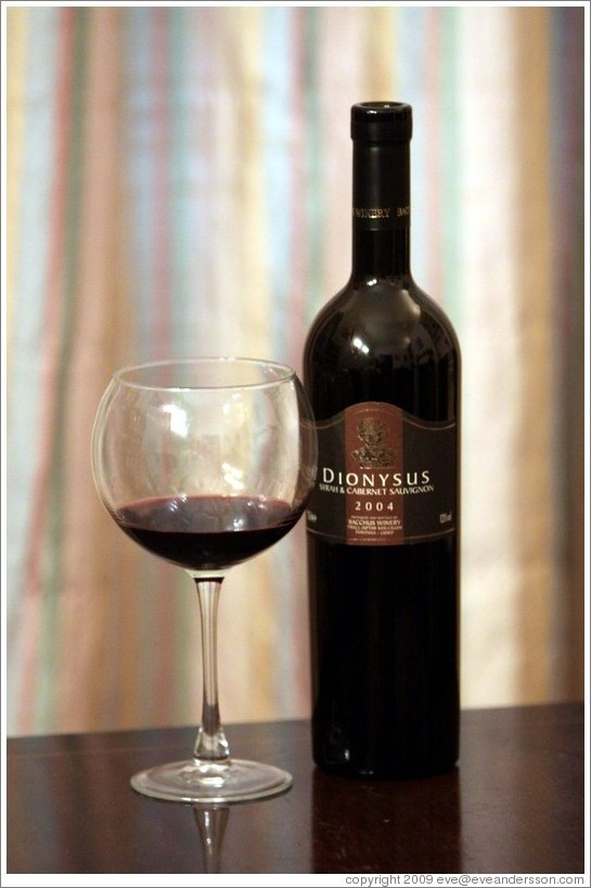Dionysis, syrah and cabernet sauvignon blend, Bacchus Winery, 2004, Malta.