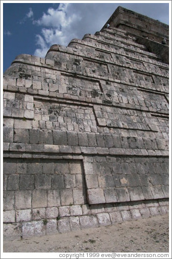 Looking up at the pyramid.  Chichen Itza.