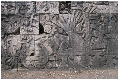 The blood spurting from the winner's neck is turning into snakes.  Chichen Itza.
