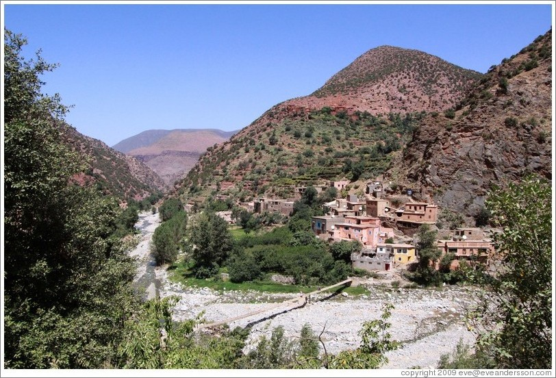 Berber village on a dry riverbed in the Atlas Mountains.
