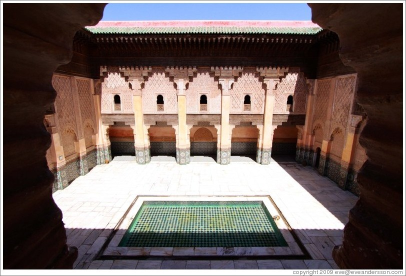 Courtyard, viewed from the student chambers, Ben Youssef Medersa.