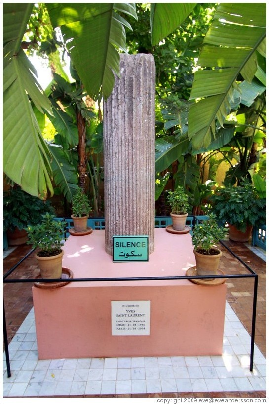 Memorial for yves saint laurent jardin majorelle photo id 15271 marrakec - Jardin majorelle yves saint laurent ...