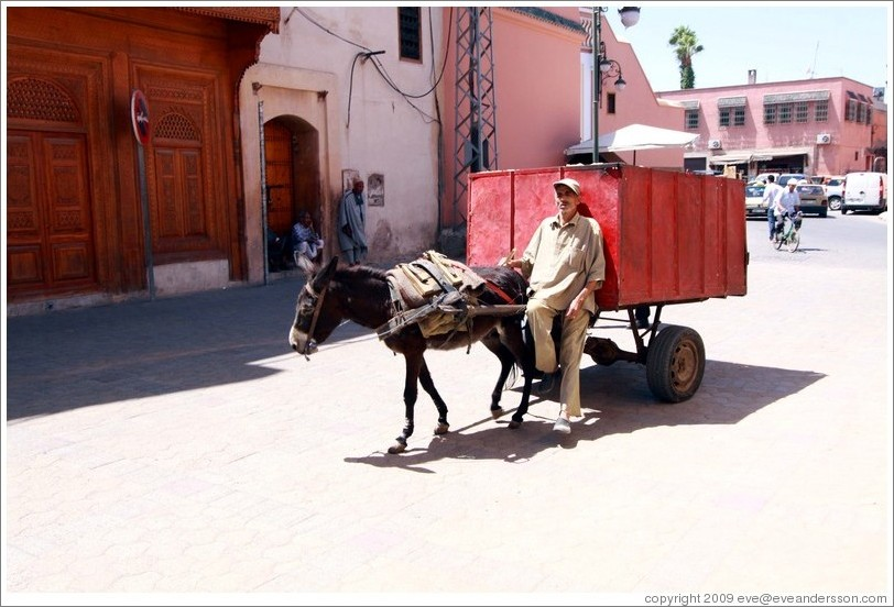Man with a donkey on a street in the Medina.