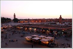 View of Jemaa el Fna from Caf?e France at dusk.