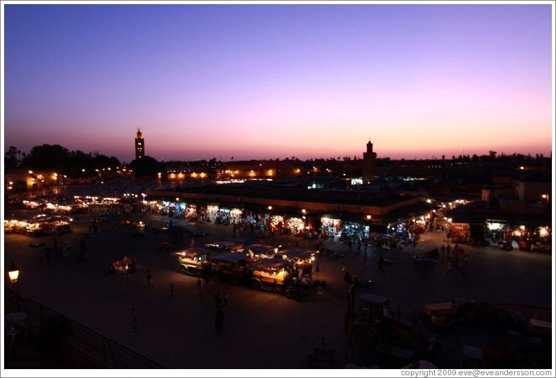 Sunset over Jemaa el Fna, viewed from Caf?e France.