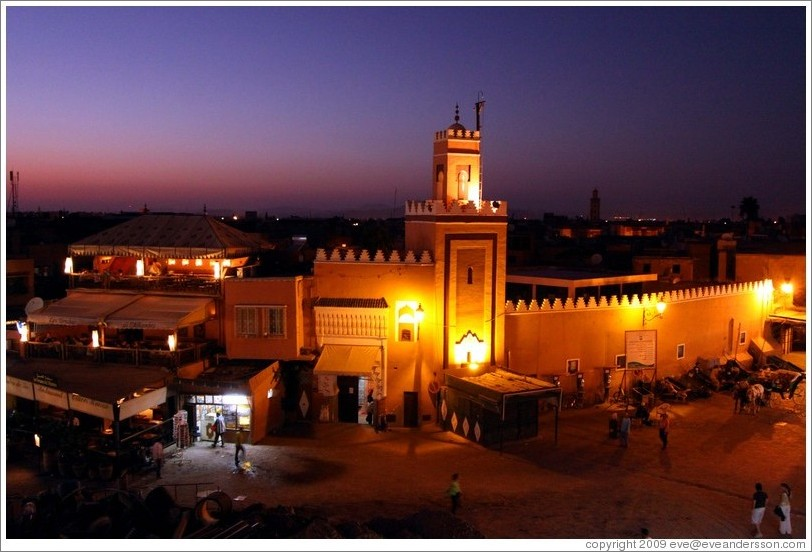 Mosque at sunset, Jemaa el Fna.
