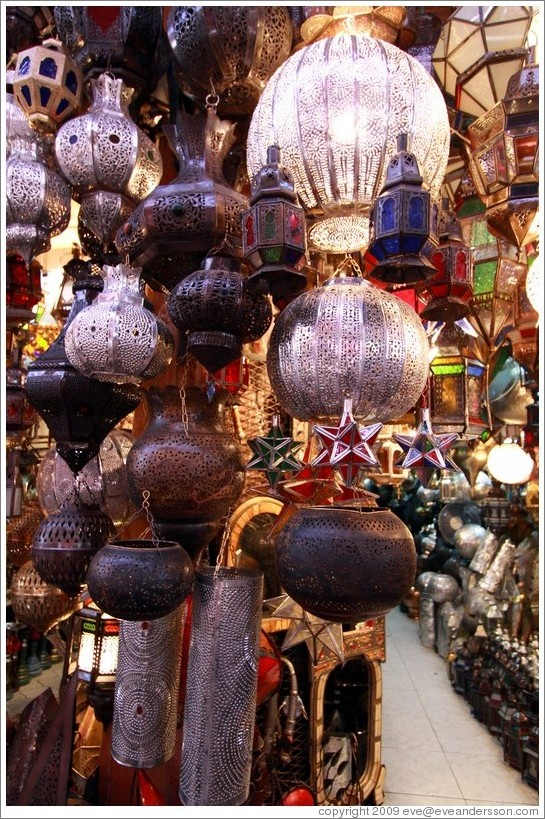 Lamps for sale in the souks.