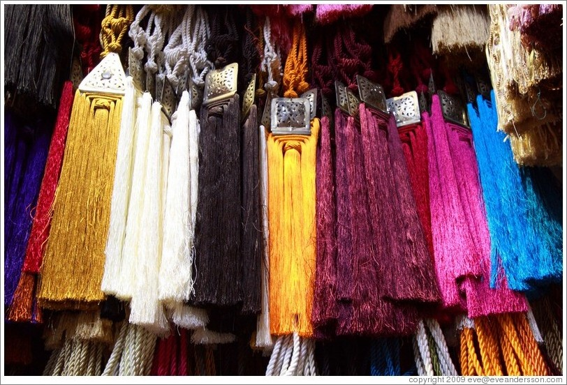 Tassels for sale in the souks.