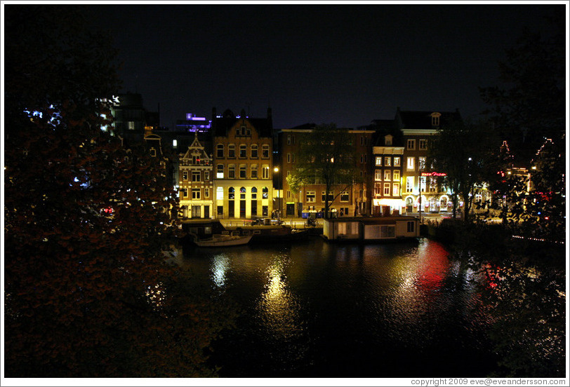 Amstel canal at night, Centrum district.