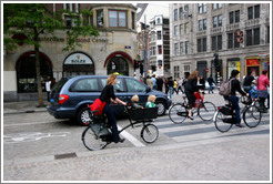 Bicyclists, Dam Square, Centrum district.