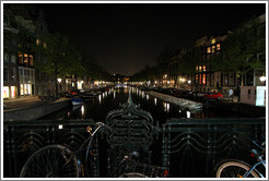 Prinsengracht canal at night, Jordaan district.