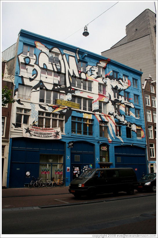 Building with BOOM painted on it on Spuistraat, Centrum district.