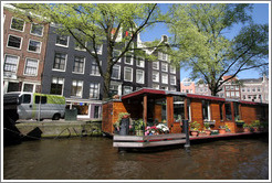 Houseboat.  Prinsengracht, Jordaan district.