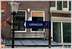 Urinoir (outdoor toilet) sign.  Red Light district.