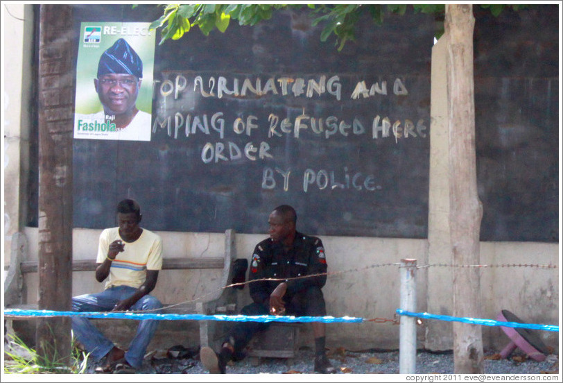 "Sign: ""Stop Urinating and Dumping of Refused Here Order by Police"". COD Church Road,  Victoria Island."