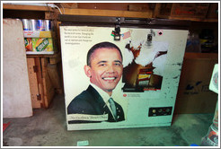 "Sign regarding ""His Excellency Barack Obama. Market, Victoria Island."