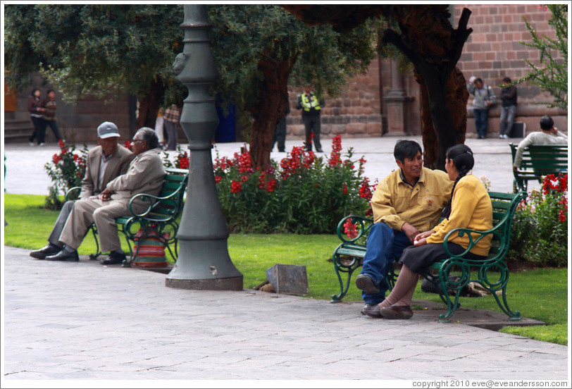 People on benches, Plaza de Armas.