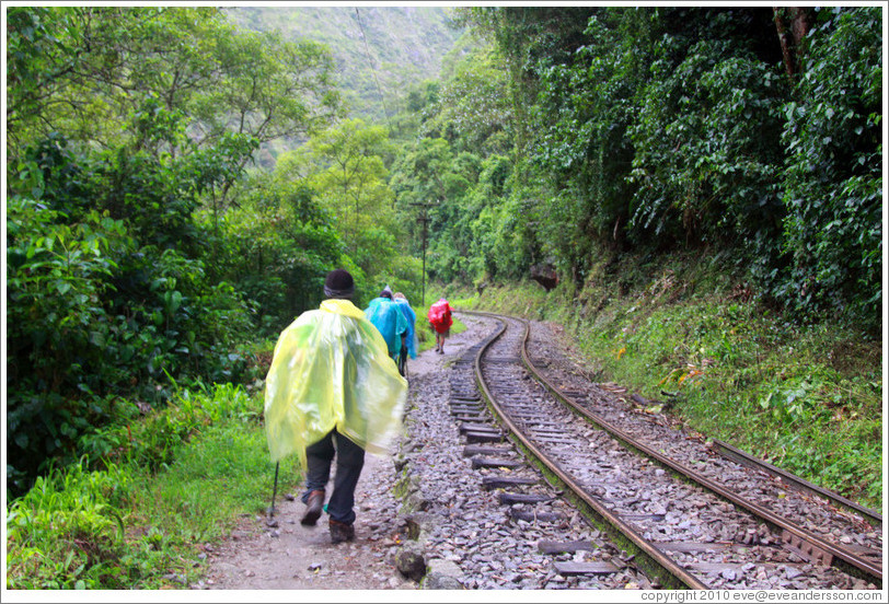 Hikers walking along the train tracks.