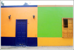 Purple, yellow and green building, Calle Domeyer, Barranco neighborhood.