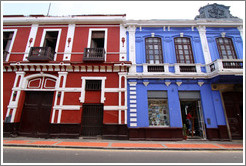 Red and blue buildings, Calle de Serrano, Historic Center of Lima.