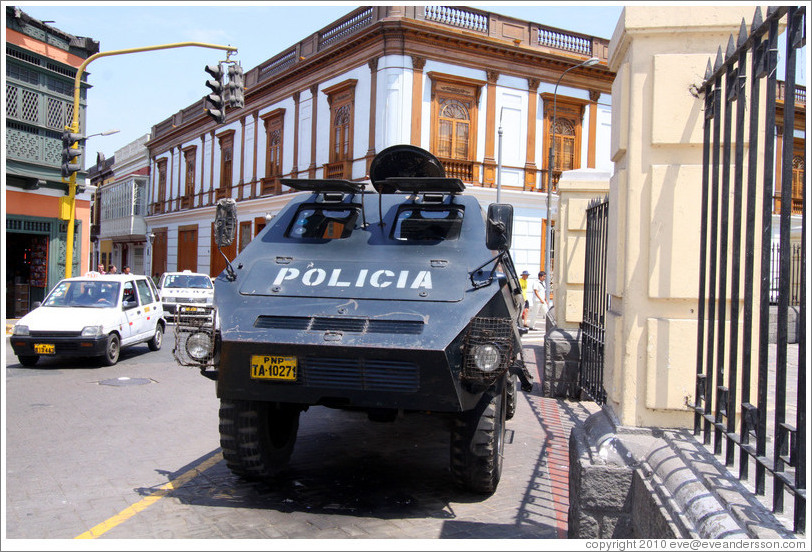 Police tank in front of Iglesia de San Francisco, Historic Center of Lima.