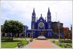 Parroquia de los Sagrados Corazones (Templo de la Recoleta), a beautiful blue church, Historic Center of Lima.