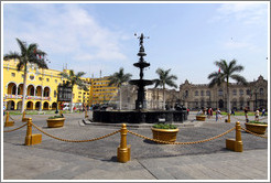 Fountain, Plaza de Armas, Historic Center of Lima.
