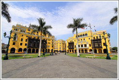 Yellow buildings, Plaza de Armas, Historic Center of Lima.