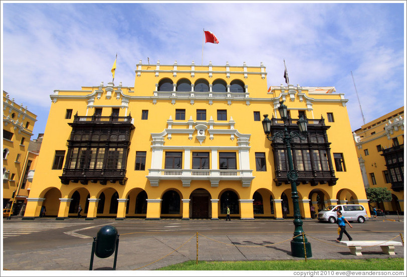 Yellow building, Plaza de Armas, Historic Center of Lima.